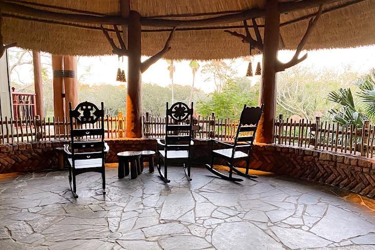 Rocking chairs in the resort's overlooks