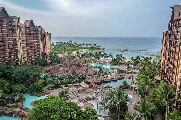 Aulani from the balcony of a Partial Ocean View Guest Room