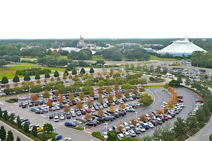 Theme Park View Villas overlook a parking area as well
