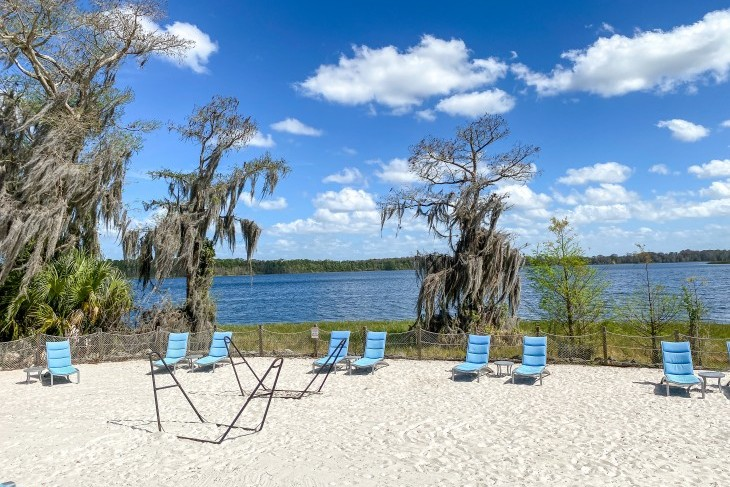 The resort's beach area is a calm oasis