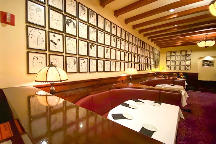Hollywood Brown Derby caricatures and red leather booths