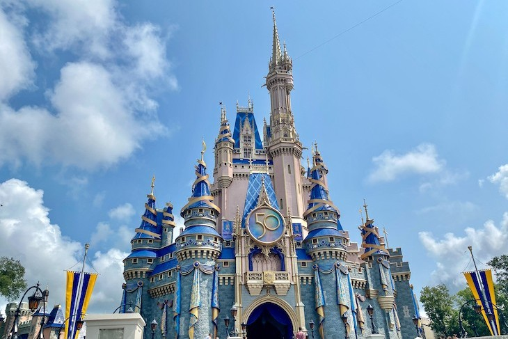 Cinderella Castle decked out for Magic Kingdom's 50th birthday