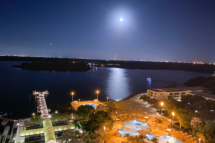 Bay Lake View from the 14th Floor VP Suite by moonlight