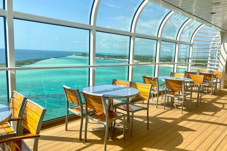 Pool Deck dining with a view of Castaway Cay