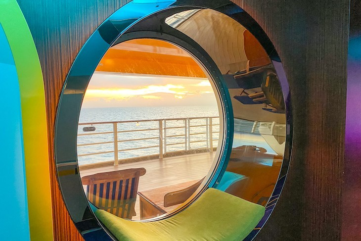 Sunset porthole view