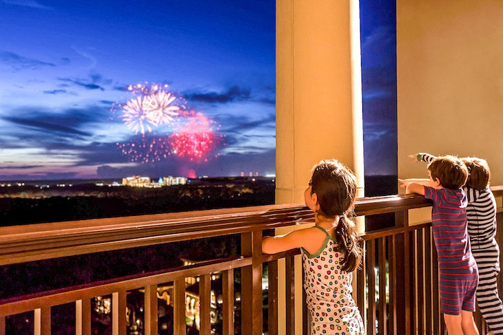 Enjoy a fireworks view from your balcony of a Park View Suite