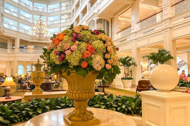 Grand Floridian lobby always filled with fresh flowers