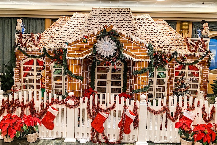 Disney Fantasy's gingerbread house at Christmastime.
