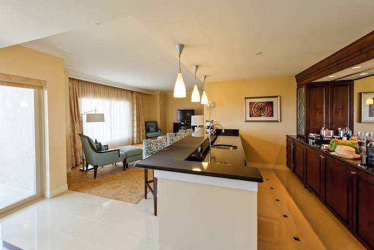 Waldorf Suite kitchen and living area