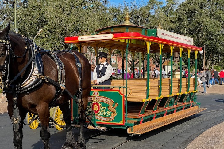 Main Street horse-drawn trolley is a fun mode of transportation