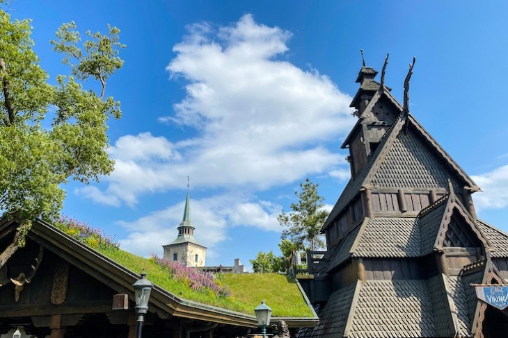 Grass-topped roofs in Epcot's Norway