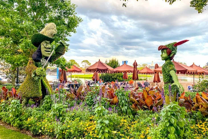 Peter Pan and Captain Hook topiary at Epcot's International Flower & Garden Festival