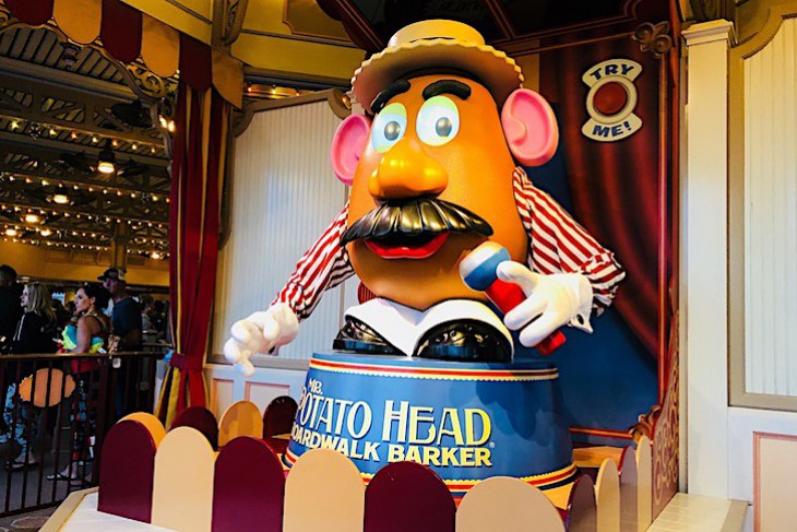 Toy Story Midway Mania's boardwalk barker