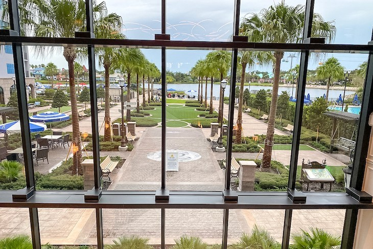 View of the grounds from the lobby