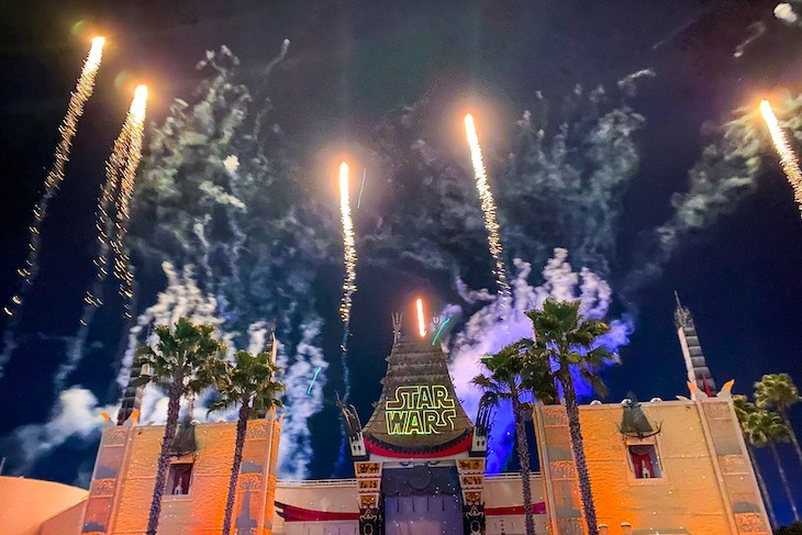 Nighttime Star Wars: A Galactic Spectacular fireworks