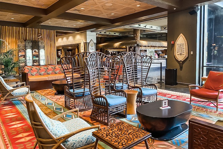 Tambu Lounge spills out into the upstairs Polynesian Village Resort lobby