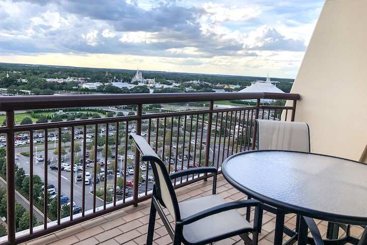 14th Floor Tower Club balcony with super views of the Magic Kingdom