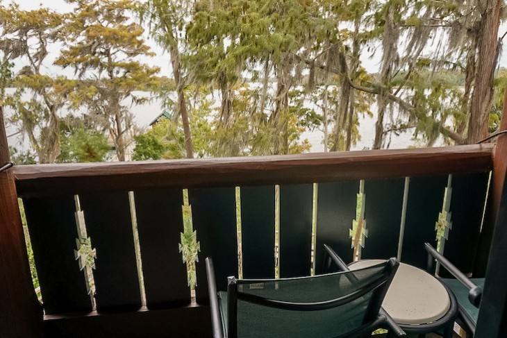 Deluxe Room balcony with views of Bay Lake